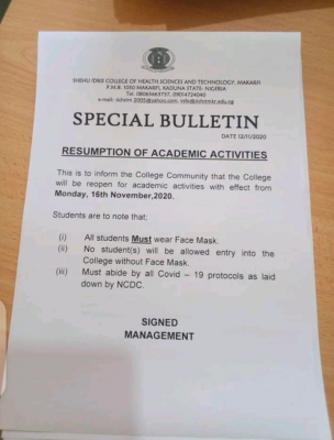 Shehu Idris College of Health Science and Tech. resumption of academic activities