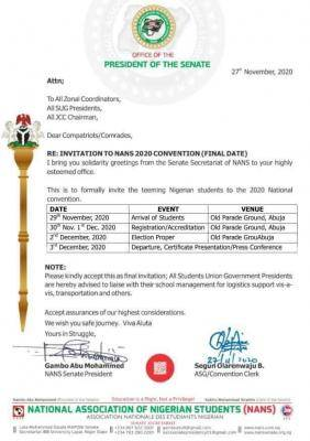 NANS invites students to its 2020 National Convention