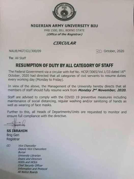 naub resumption date for staff