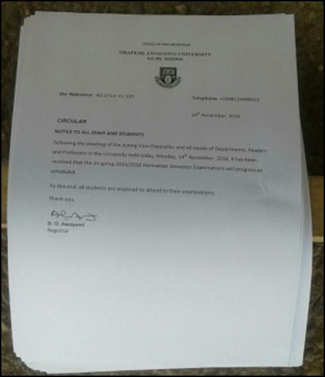 OAU Postpones Post-UTME Screening Exercise for 2020/2021 Academic Session