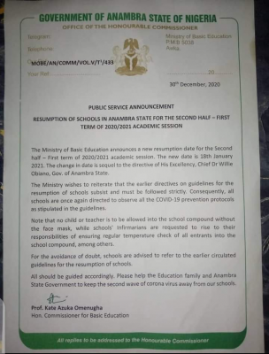 Anambra State notice on resumption for 2nd half of 1st term of 2020