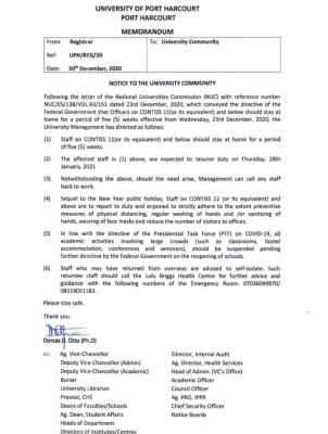 UNIPORT notice to staff and the university community
