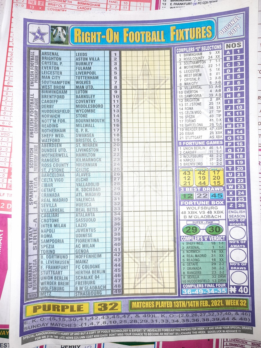 week 32 right on fixtures 2021 front page