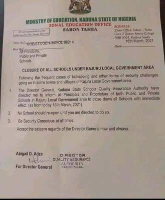 Kaduna state orders