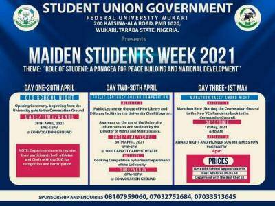 This is to inform all students of federal University of Wukari that the 2021 students week