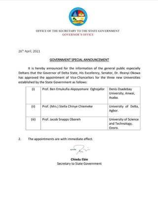delta state governor appoints vcs