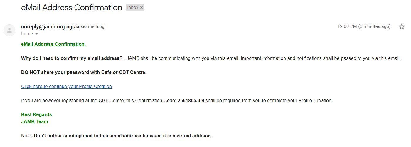 jamb email address verification