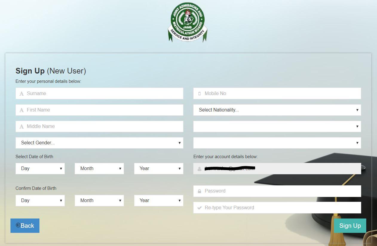 jamb profile information form
