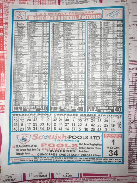 week 40 right on fixtures back page