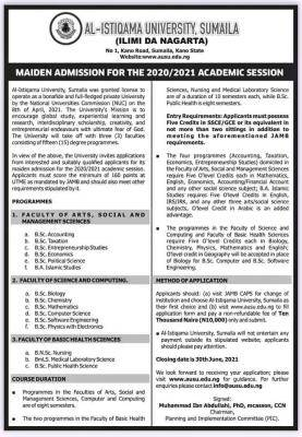 Al Istiqamah University Sumaila announces 20202021 maiden admission
