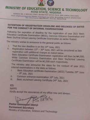 Kogi State releases dates for internal examinations