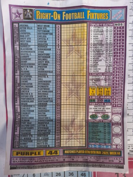 week 44 right on fixtures 2021 front page