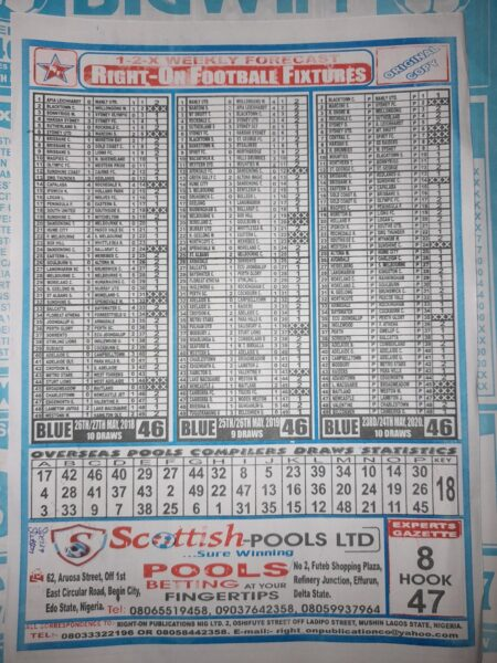 week 46 right on fixtures 2021 back page