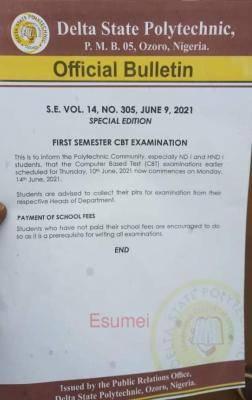 Delta Poly Ozoro notice on postponement of exam