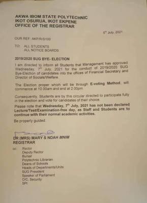Akwa Poly notice on SUG bye elections