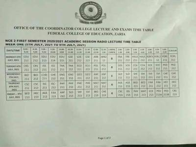 FCE Zaria radio lecture timetable for NCE II students