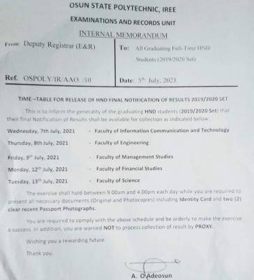 OSPOLY notice on release of HND notification of results