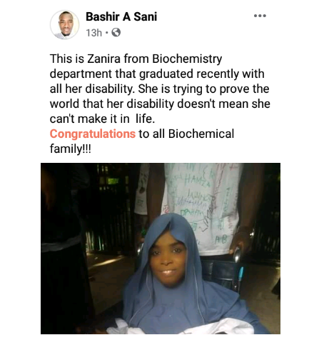Physically challenged student celebrates her graduation from BUK 2
