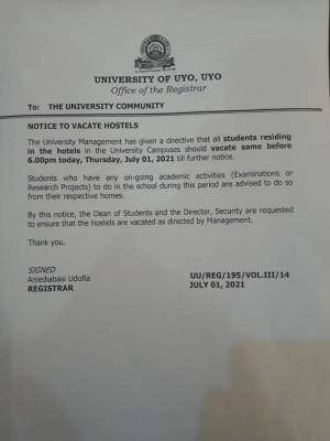 UNIUYO directs students to vacate hostel